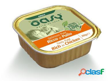 Oasy gatto vaschetta umido delizioso patè adulto al pollo 100 gr