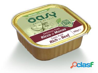 Oasy gatto vaschetta umido delizioso patè mature & senior manzo...