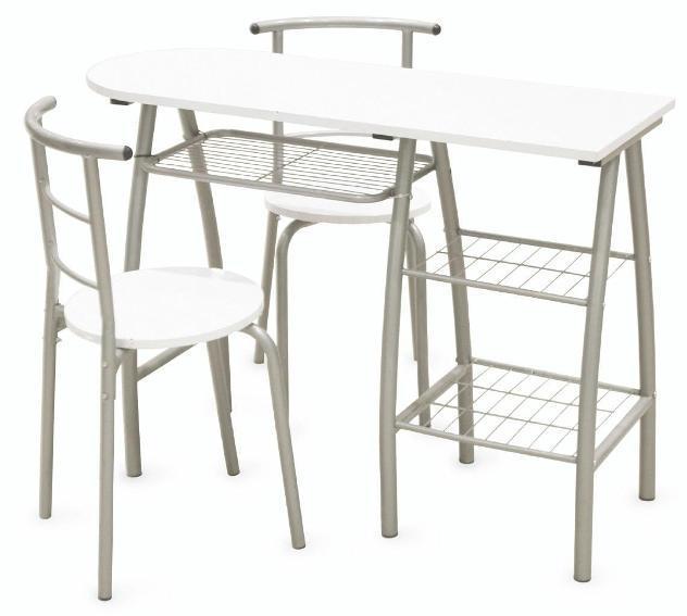 Set da pranzo tavolo penisola con 2 sedie in ferro soriani