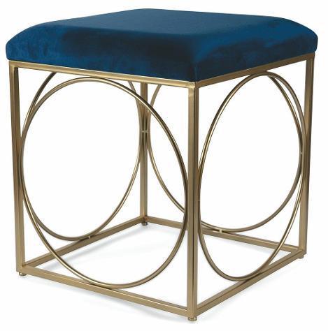 Sgabello quadrato 40x40x46 cm in ferro e velluto soriani blu