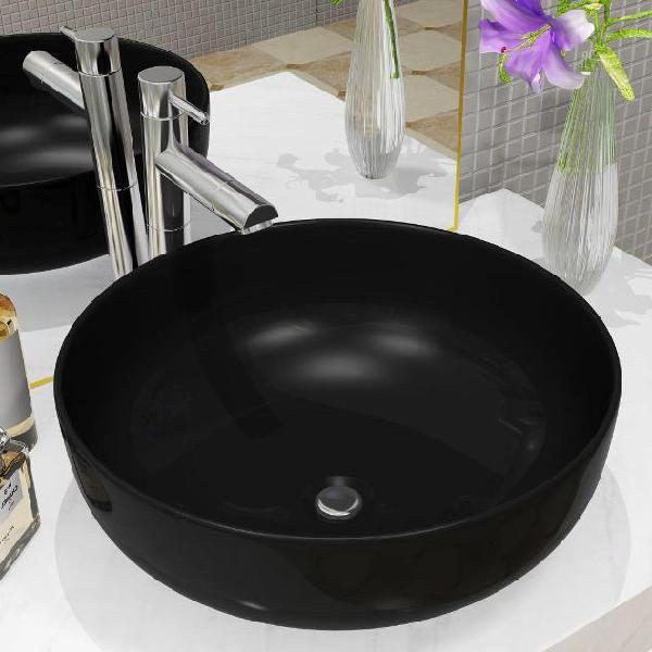 Vidaxl lavandino tondo in ceramica nero 41,5x13,5 cm