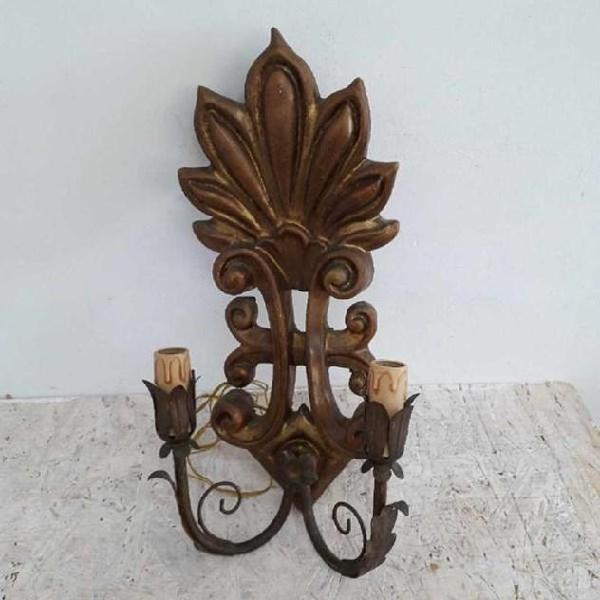 Applique in legno dorato foglie / candele