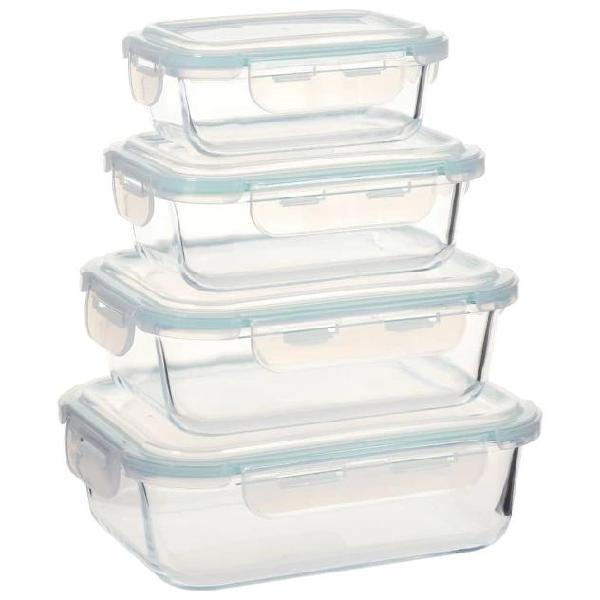 Vidaxl contenitori per alimenti in vetro 4 pz
