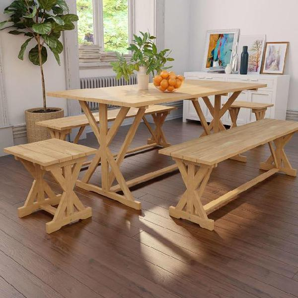 Vidaxl set da pranzo da giardino 5 pz in legno massello di