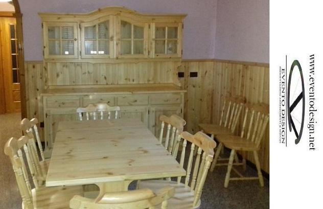 Set mobili in pino massello per soggiorno tinello