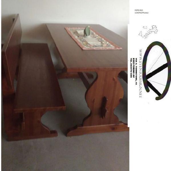 Set panca e tavolo per arredo pub e pizzeria in pino