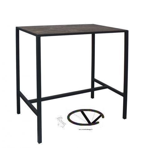 Tavolo bar - acciaio verniciato antracite, piano in