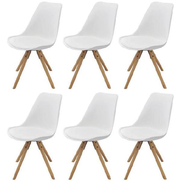 Vidaxl 6 pz sedie sala da pranzo in pelle sintetica bianca