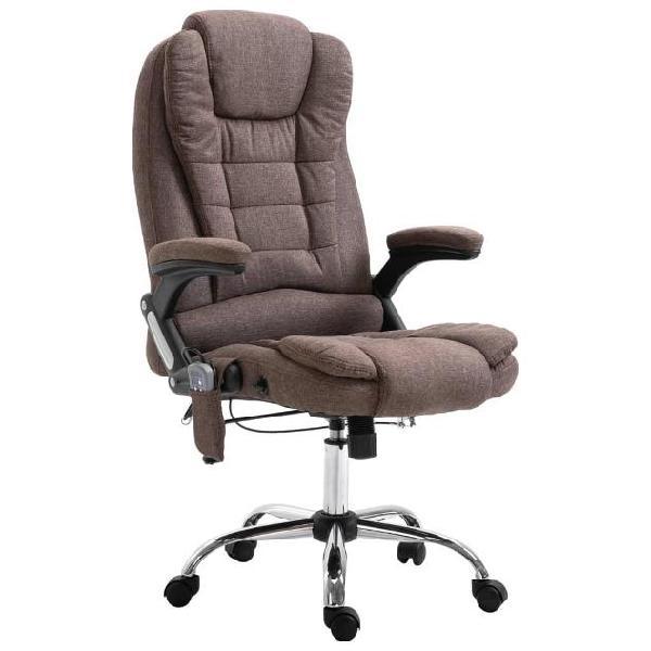Vidaxl sedia da ufficio massaggiante marrone in poliestere