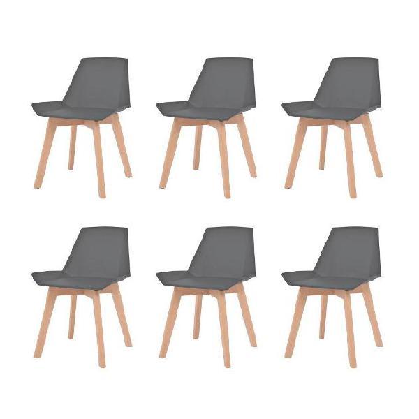 Vidaxl sedie da pranzo 6 pz sedile plastica grigio gambe