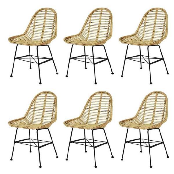 Vidaxl sedie da pranzo set 6 pz in rattan naturale