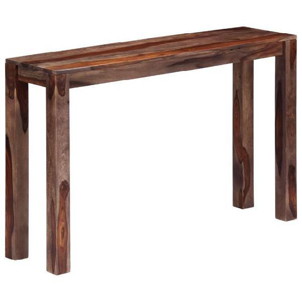 Vidaxl tavolo consolle grigio 120x30x76 cm legno massello di