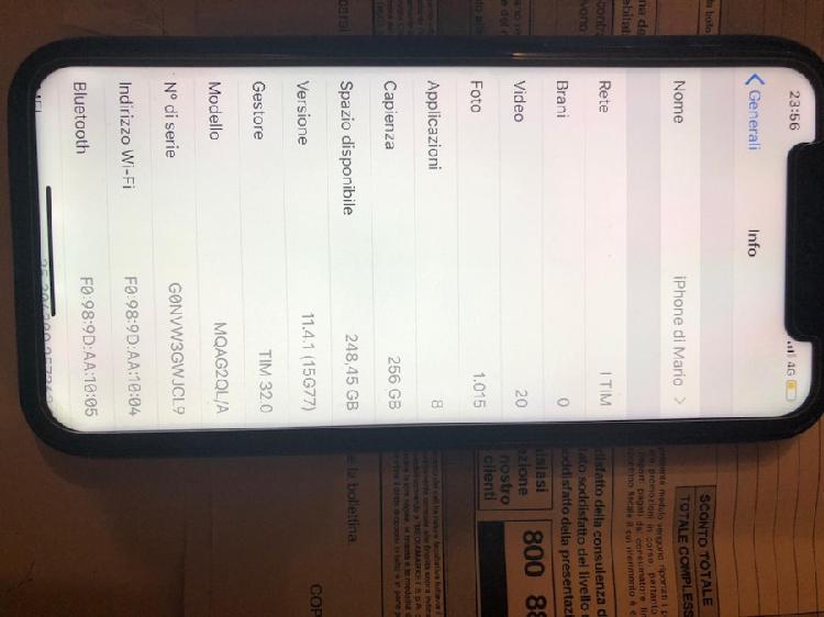 Iphone x bianco da 256gb