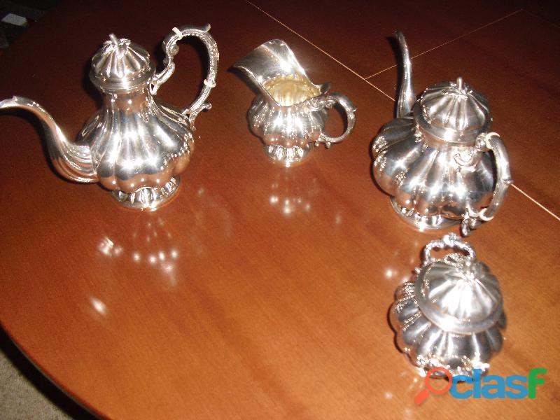 argento 800.servizio the caffe' stile barocco con vassoio 2