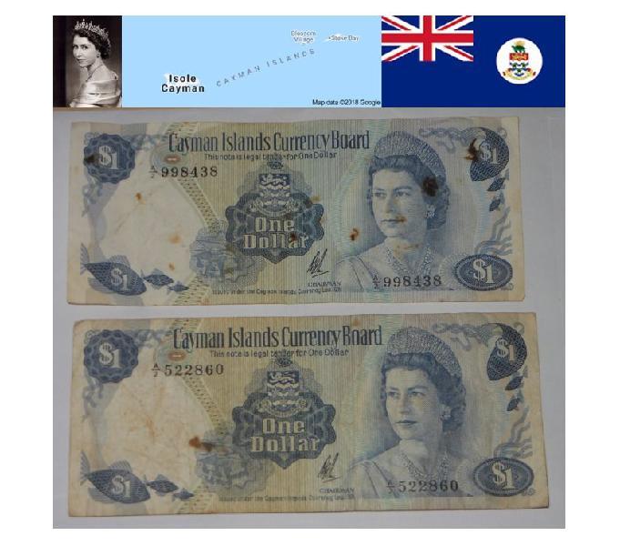 2 banconote 1 dollaro delle isole cayman 1971.
