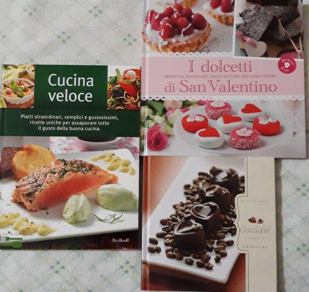 Tre libri di cucina ricette e dolci cioccolato