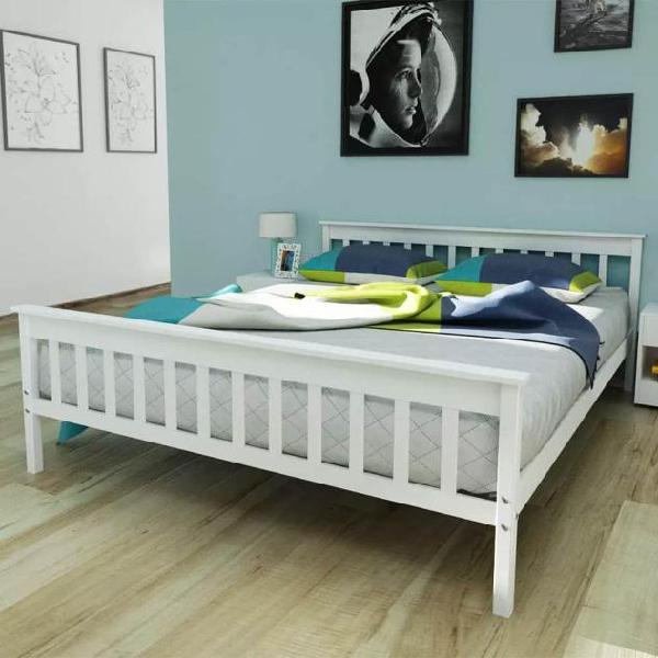 Vidaxl letto e materasso in schiuma massello di pino