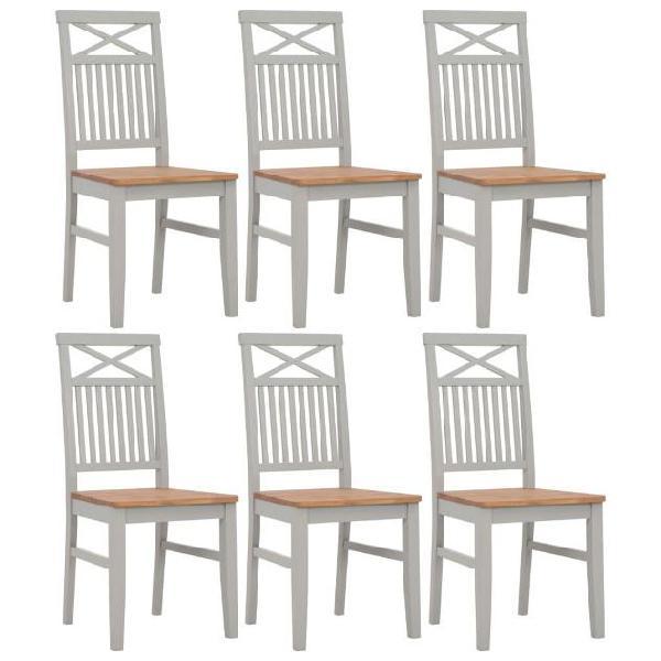 Vidaxl sedie da pranzo 6 pz grigie 44x59x96cm legno massello