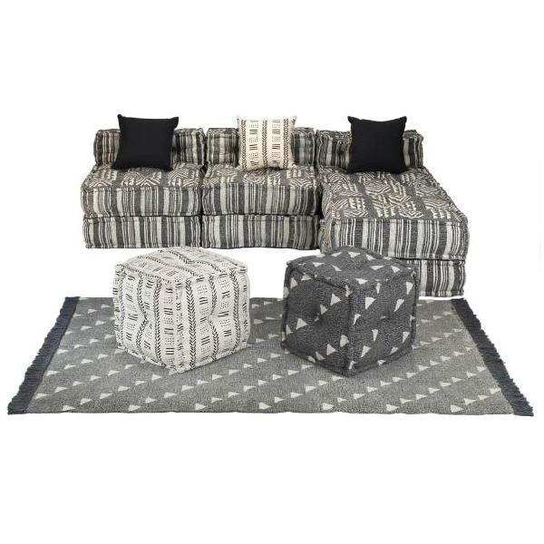 Vidaxl set divano modulare 14 pz in tessuto a righe