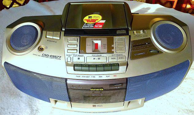 Aiwa stereo portatile cd compact disc cassette tape