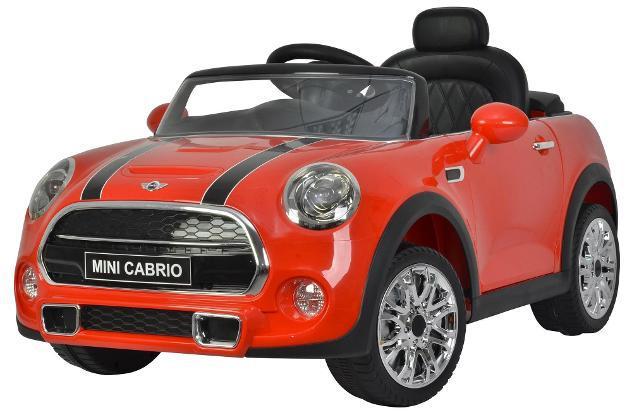 Macchina elettrica per bambini 12v mini cooper cabrio rosso