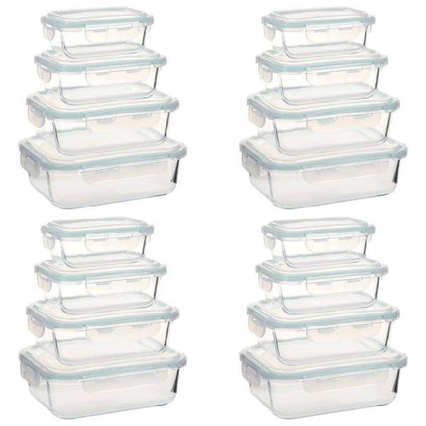 Vidaxl contenitori per alimenti in vetro 16 pz