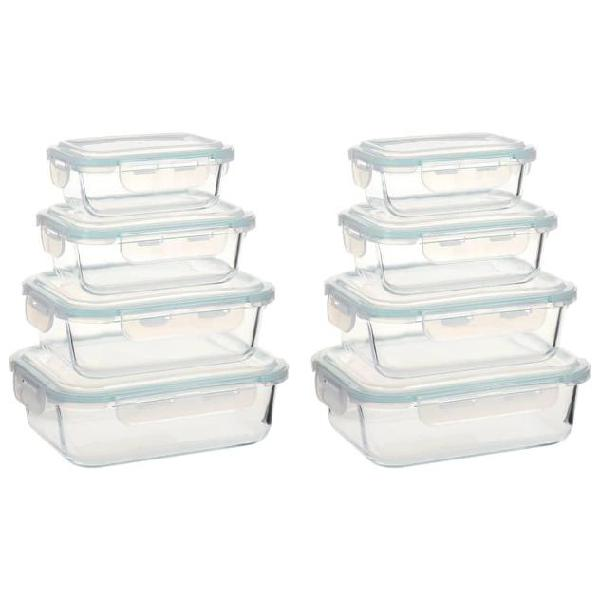Vidaxl contenitori per alimenti in vetro 8 pz
