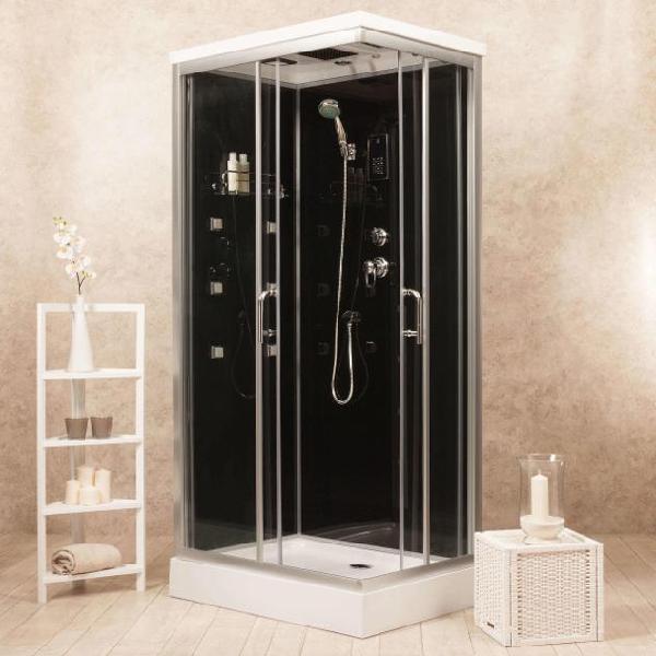 Box doccia idromassaggio multifunzione 70x90 cm vorich black