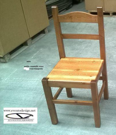 Sedie in legno massello di pino, con sedile in legno o