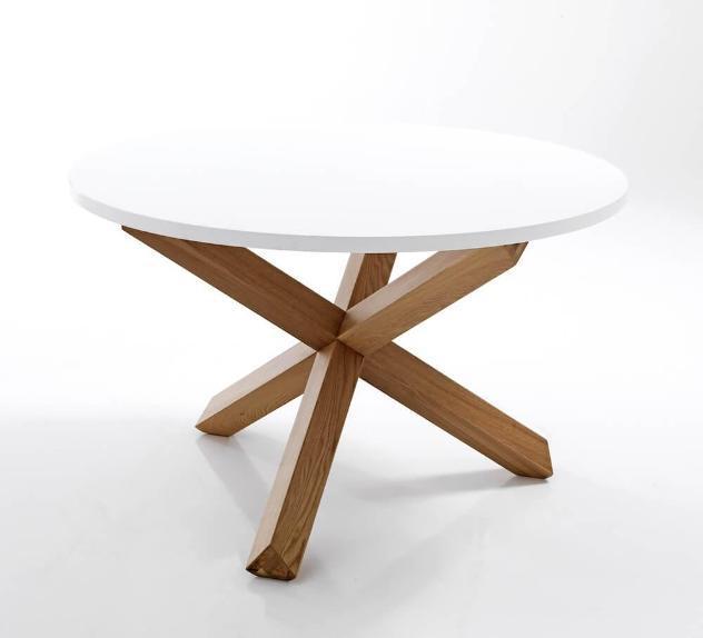 Tavolo rotondo in legno massello e mdf tomasucci frisia