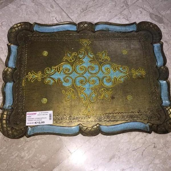 Vassoio legno dipinto verde con bordi azzurri
