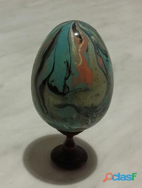 Uovo in alabastro dipinto a mano con colori a fuoco made in italy nuovo