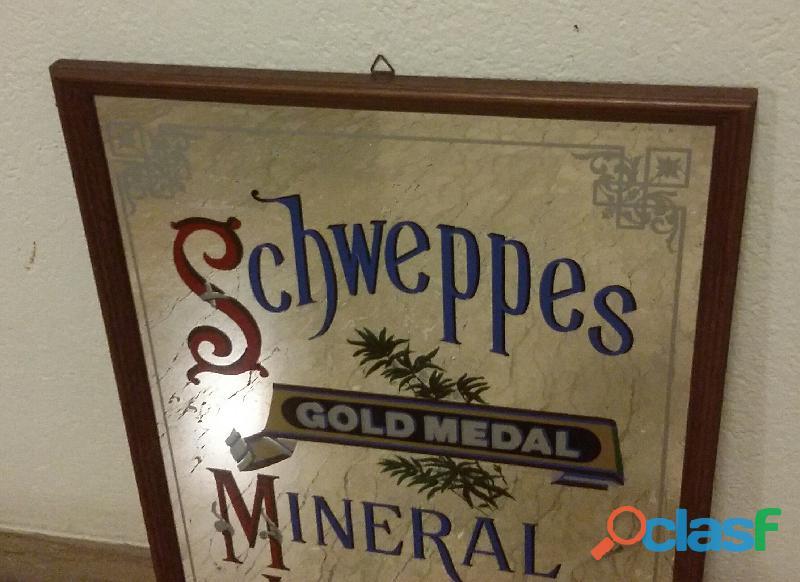 Raro quadro a specchio pubblicitario schweppes gold medal mineral waters