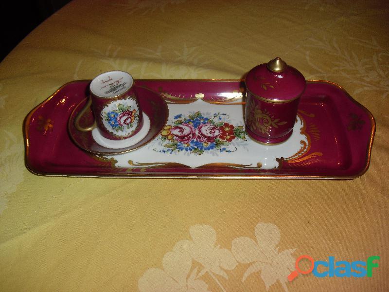 Servizio caffe' zuccheriera vassoio pillivuyt rosso