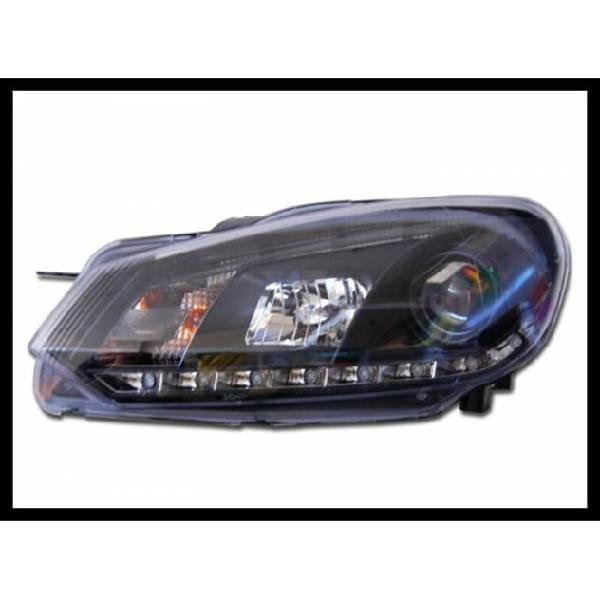 Fanali day light volkswagen golf 6 09-12 black