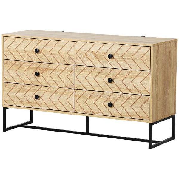 Comã² 6 cassetti in legno stile vintage 120x39,5x71 cm