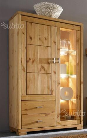 Mobile credenza alta cod 009/n vetro legno nuovo