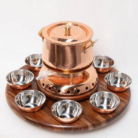 Alexander fondue bourguignonne con base legno e ciotole
