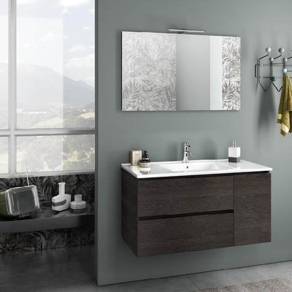 Mobile da bagno sospeso con lavabo specchio e lampada a led