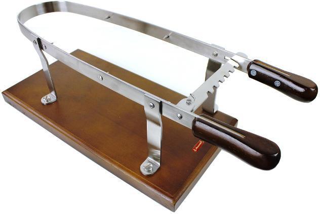 Porta prosciutto in acciaio inox con base in legno alexander