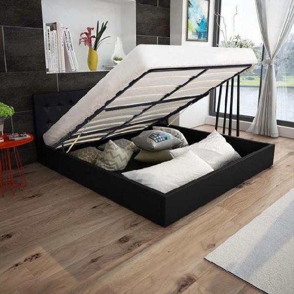 Vidaxl letto con contenitore e materasso in similpelle