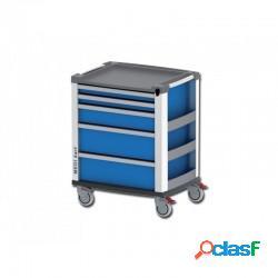 Medi kart carrello multifunzione per emergenza - 5 cassetti - blu