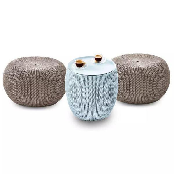 Keter set sgabelli 3 pz cozy urban knit beige e blu