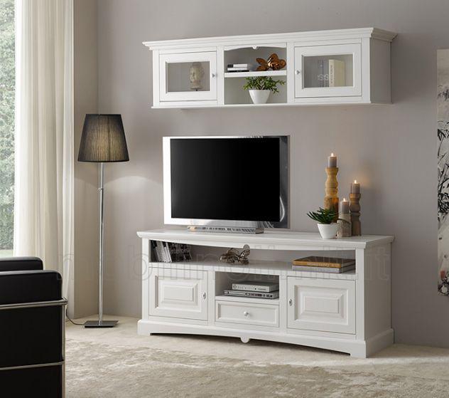 Porta tv bianco con 2 ante bugnate e 1 cassetto - linea