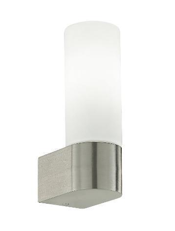Applique lampada da bagno metallo nikel diffusore cilindrico