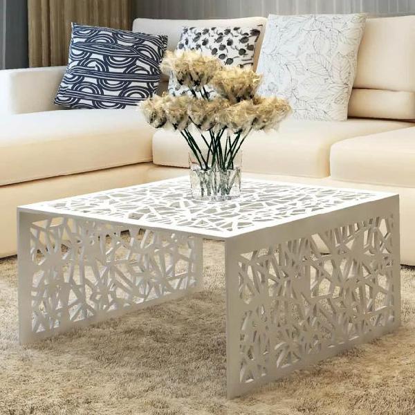 Vidaxl tavolino con design geometrico traforato argento in