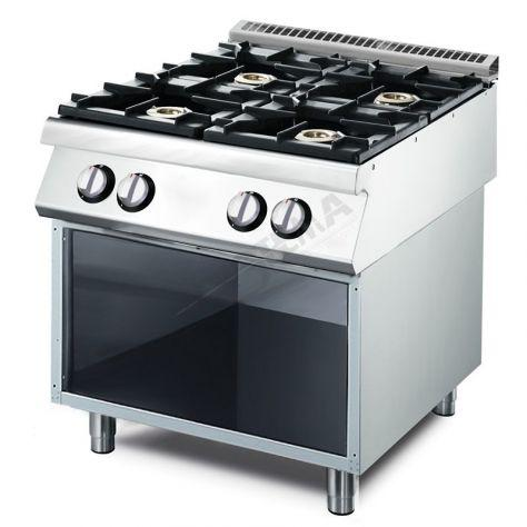 Cucina a gas su vano aperto. 4 bruciatori: 2x5,5 e 2x7,5 kw.