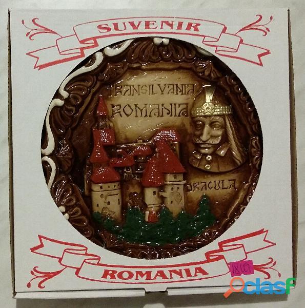Piatto Conte DRACULA castello Transilvania Romania Souvenir parete artigianale nuovo con scatola