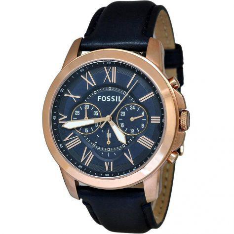Cronografo glamour uomo fossil grant navy - fs4835