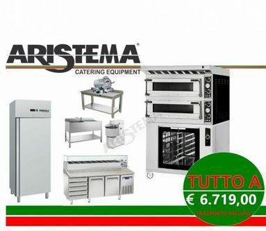 Kit pizzeria e forno elettrico con cappa e cella 9 teglie